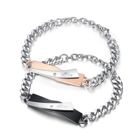 Jewelry Mixed Batch Fashion Trend Boutique Diamond Exquisite Titanium Steel Couple Bracelet wholesale nihaojewelry NHKN228201's discount tags