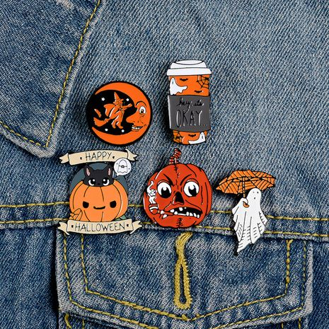 best selling brooch cartoon pumpkin halloween brooch denim badge collar accessories wholesale nihaojewelry NHBO228212's discount tags