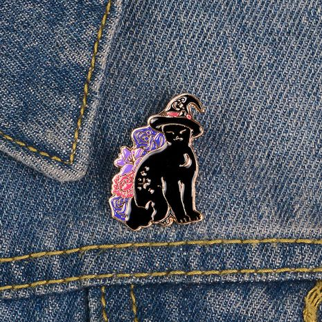 Punk esmalte sombrero negro gato pin bruja gato broche mochila collar hebilla venta al por mayor nihaojewelry NHBO228215's discount tags