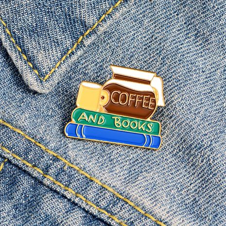 café y libros broche de esmalte tiempo de lectura amantes del café accesorios de broche de esmalte al por mayor nihaojewelry NHBO228218's discount tags