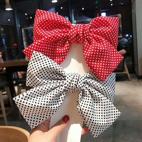 new fabric wave point hairpin cute bowknot spring clip back head ponytail hair accessories wholesale nihaojewelry NHDQ228242's discount tags