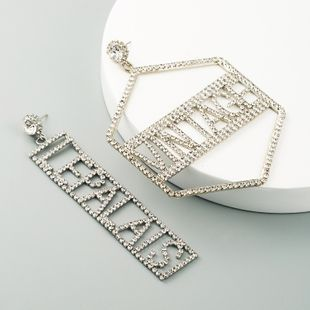 trend asymmetric English alphabet alloy inlaid rhinestone earrings ladies luxury dinner earrings wholesale nihaojewelry NHLN228246's discount tags