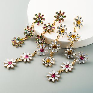 exaggerated multi-layer alloy inlaid rhinestone flower earrings ladies long new wave earrings wholesale nihaojewelry NHLN228248's discount tags