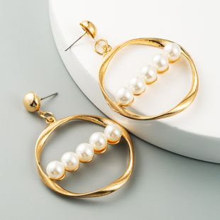 fashion exaggerated geometric pearl earrings retro long section simple earrings wholesale nihaojewelry NHLN228250's discount tags