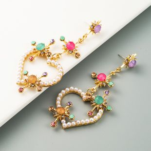 fashion high-end love heart-shaped earrings pearl color rhinestone long earrings wholesale nihaojewelry NHLN228254's discount tags