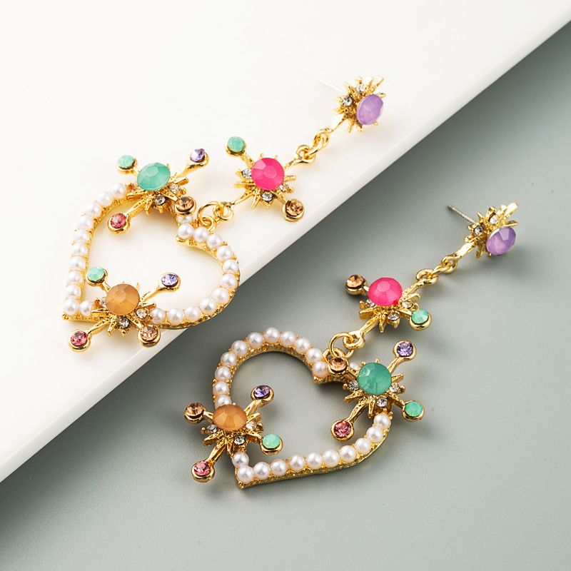 fashion high-end love heart-shaped earrings pearl color rhinestone long earrings wholesale nihaojewelry NHLN228254