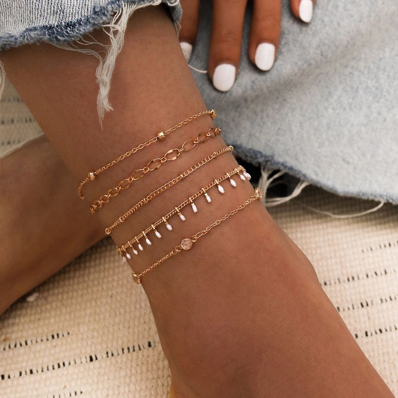 Simple Summer Beach Handmade White Dripping Crystal Bead Chain Fivepiece Multilayer Anklet Set of 5 wholesale nihaojewelry NHPV228264