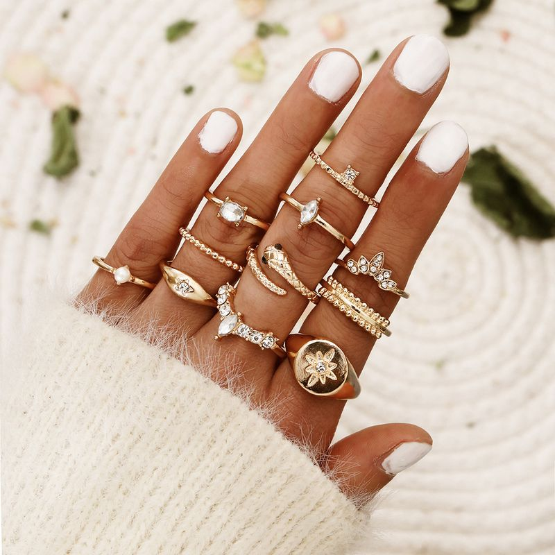 bohemian snake-shaped joint ring six-pointed star diamond pearl ring set wholesale nihaojewelry NHPV228265