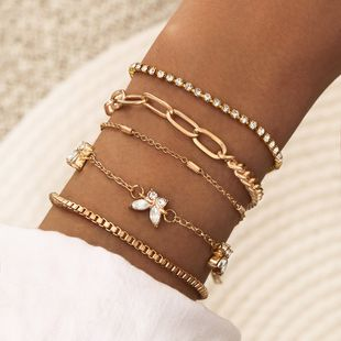 Simple lady diamond butterfly copper chain diamond claw chain manual multi-layer five-piece bracelet combination set wholesale nihaojewelry NHPV228267's discount tags