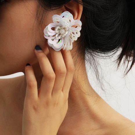 fashion jewelry geometric hollow beaded earrings handmade oval streamer flower earrings wholesale nihaojewelry NHXR228279's discount tags