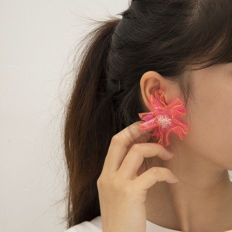 fashion  jewelry creative handmade bead curly earrings wave volume fluorescent color flower earrings wholesale nihaojewelry NHXR228280's discount tags