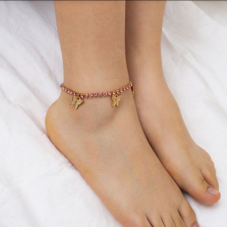 fashion jewelry creative beach claw chain diamond foot ornaments simple fashion small butterfly pendant tassel anklet wholesale nihaojewelry NHXR228287's discount tags