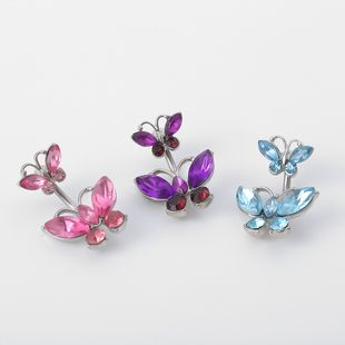 fashion jewelry geometric body jewelry simple butterfly micro-set sexy belly button wholesale nihaojewelry NHXR228298's discount tags