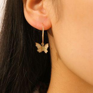 fashion jewelry simple fashion short earrings butterfly pendant metal earrings wholesale nihaojewelry NHXR228305's discount tags