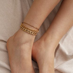 fashion jewelry simple multi-layer time hollowed out footwear beach punk metal chain anklet wholesale nihaojewelry NHXR228307's discount tags