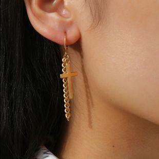 fashion jewelry punk hip-hop geometric earrings cross tassel chain stitching earrings wholesale nihaojewelry NHXR228308's discount tags