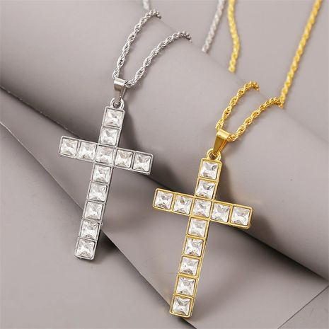 exaggerated rhinestone hip hop cross necklace men's trend long personality pendant wholesale nihaojewelry NHLA228310's discount tags