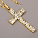 exaggerated rhinestone hip hop cross necklace mens trend long personality pendant wholesale nihaojewelry NHLA228310