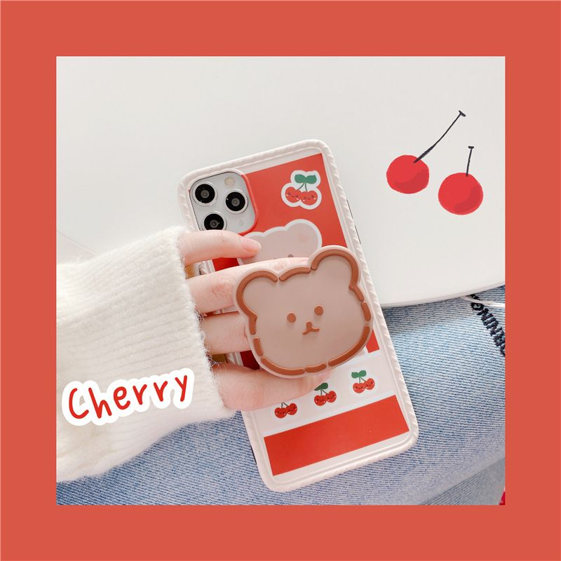 Cherry Bear iPhone11 Pro max mobile phone shell bracket for Apple 7plus silicone soft cover X SE2 phone case NHFI228353