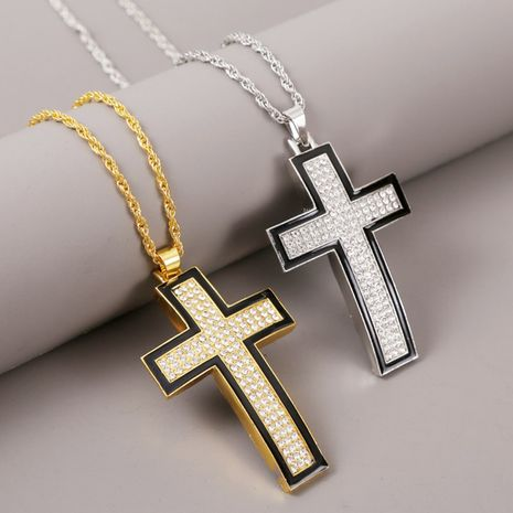 Creative exaggerated hip hop cross necklace men's trend rhinestone HIP HOP pendant jewelry wholesale nihaojewelry NHLA228400's discount tags