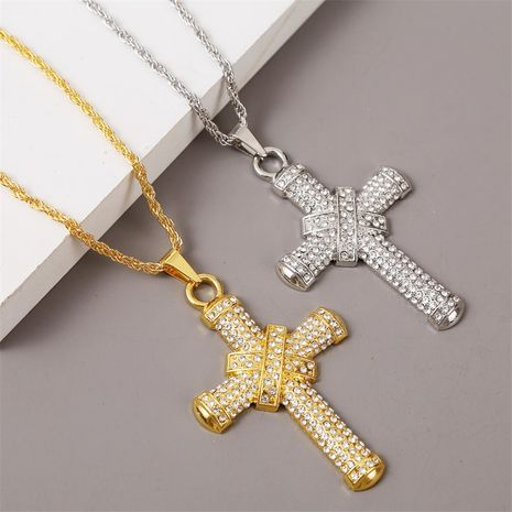 Hip Hop Creative Diamond Cross Necklace Long Exaggerated Pendant Jewelry wholesale nihaojewelry NHLA228402's discount tags