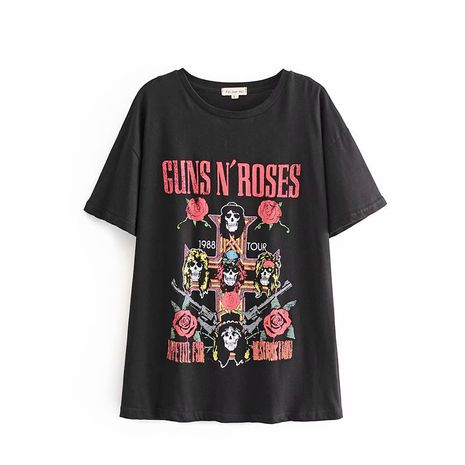 women's new gun and rose skull print T-shirt wholesale nihaojewelry NHAM228412's discount tags