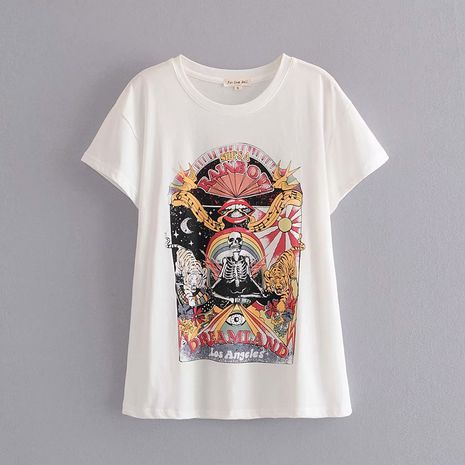 printed short-sleeved fashion skull slim-fit round neck T-shirt wholesale nihaojewelry NHAM228417's discount tags
