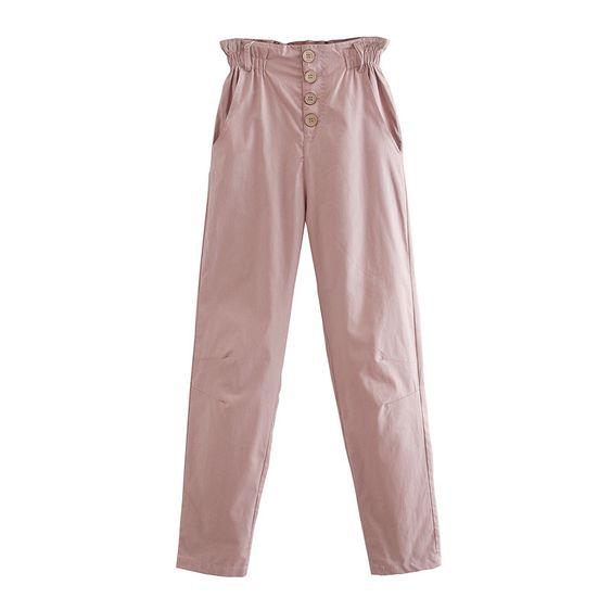 Bolsa De Papel De Estilo De Vacaciones De Verano Pantalones Sueltos Pantalones Casuales De Cintura Alta