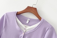 Summer French Girl Fake Two Piece Short Sleeve TShirt Lace Womens Tshirt Top wholesale nihaojewelry NHAM228454