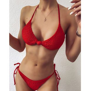 Explosion Swimsuit Sling Adjustable Fold Sexy Lady Split Bikini wholesale nihaojewelry NHZO228459's discount tags