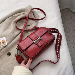 wide shoulder strap messenger bag new spring and summer wild texture fashion shoulder bag NHJZ228499's discount tags