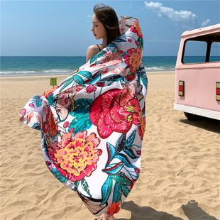Summer new ladies sunscreen scarf warm shawl beach towel cotton and linen ethnic wind scarf wholesale NHCM228636's discount tags