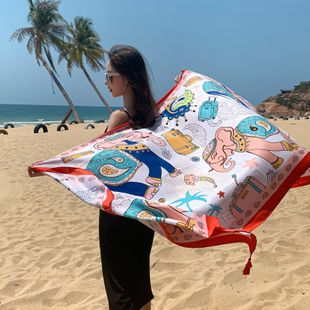 National wind scarf seaside travel beach towel printed silk scarf shawl cotton and linen scarf wholesale NHCM228639's discount tags