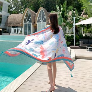 beach towel women summer beach sunscreen shawl outside scarf thin section extra large wild scarf  NHCM228640's discount tags