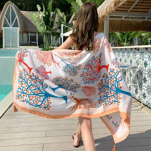 National wind scarf seaside travel beach towel printed silk scarf sunscreen shawl cotton and linen scarf  NHCM228644's discount tags