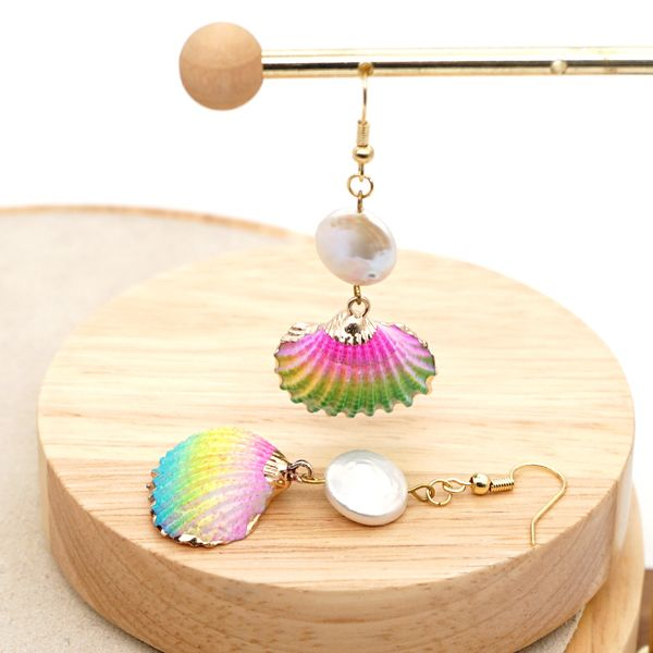 creative simple earrings pearl fashion trendy rainbow natural shell earrings handmade jewelry wholesale nihaojewelry NHGW228673