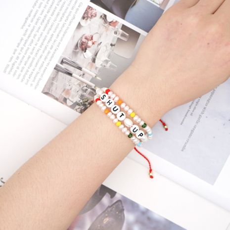 Simple Creative Woven Bracelet Pearls Baroque Natural Pearl Alphabet Crystal Handmade Jewelry wholesale nihaojewelry NHGW228674's discount tags