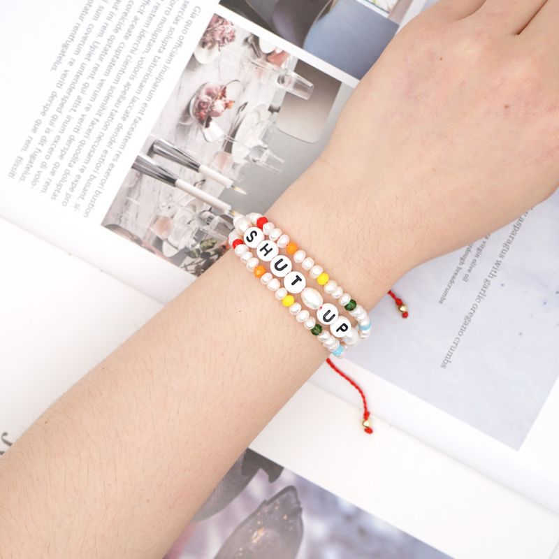 Simple Creative Woven Bracelet Pearls Baroque Natural Pearl Alphabet Crystal Handmade Jewelry wholesale nihaojewelry NHGW228674