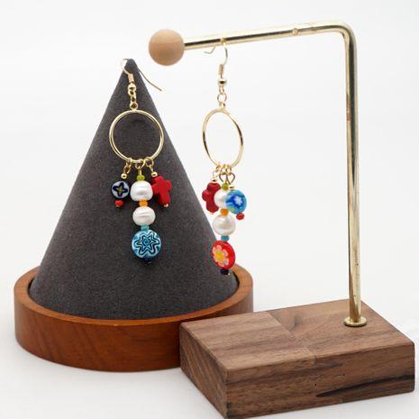 Modèles d'explosion simples style national perles émaillées croix perle naturelle longues boucles d'oreilles bijoux faits à la main en gros nihaojewelry NHGW228677's discount tags