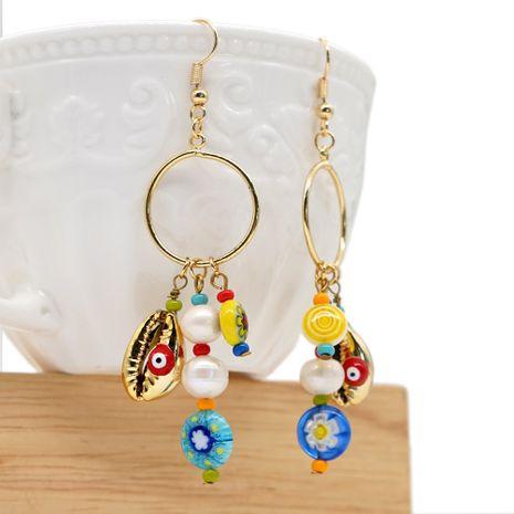 style national créatif perles émaillées coquille de perle naturelle longues boucles d'oreilles à franges bijoux faits à la main en gros nihaojewelry NHGW228679's discount tags