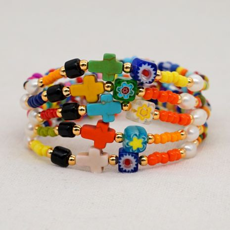 Simple color rice beads bracelet bohemian natural pearl cross ethnic style handmade jewelry wholesale NHGW228680's discount tags