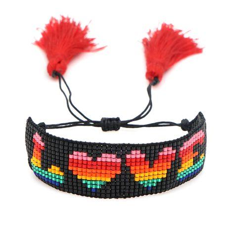 simple couple bracelet Miyuki rice beads weave love friendship rope tassel handmade jewelry wholesale nihaojewelry NHGW228681's discount tags