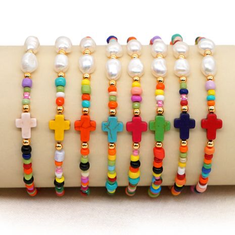 Simple and creative color rice beads bracelet natural pearl cross ethnic style handmade jewelry wholesale nihaojewelry NHGW228683's discount tags