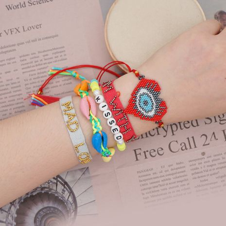 simple bracelet woven Miyuki rice beads loving eyes ethnic style shell handmade jewelry wholesale NHGW228685's discount tags