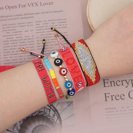 Nueva pulsera de ojo de la suerte esmaltada Miyuki cuentas de arroz alfabeto tejido joyería hecha a mano al por mayor nihaojewelry NHGW228688's discount tags