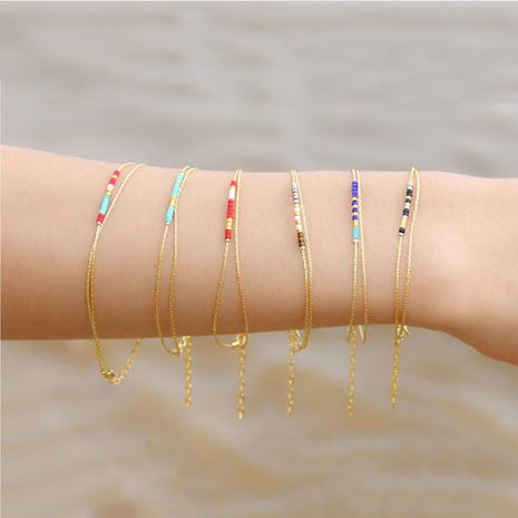 explosion model simple bracelet small commodities Miyuki rice beads woven friendship rope handmade jewelry wholesale NHGW228689's discount tags