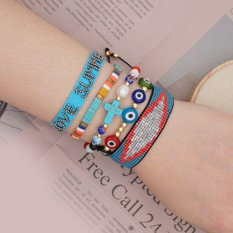 Simple bracelet ethnic wind glazed natural pearl Miyuki rice beads woven lucky eye handmade jewelry  wholesale nihaojewelry NHGW228690's discount tags