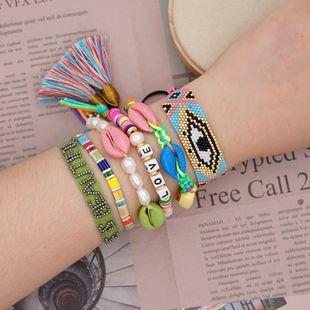 pulsera explosiva arcoíris concha natural Miyuki cuentas de arroz tejido ojo afortunado joyería hecha a mano al por mayor nihaojewelry NHGW228691's discount tags