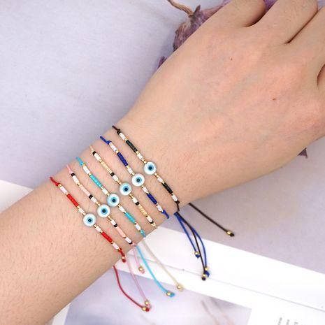 Miyuki rice beads hand-woven Turkish evil eye ornaments simple fashion bracelet wholesale nihaojewelry NHGW228693's discount tags