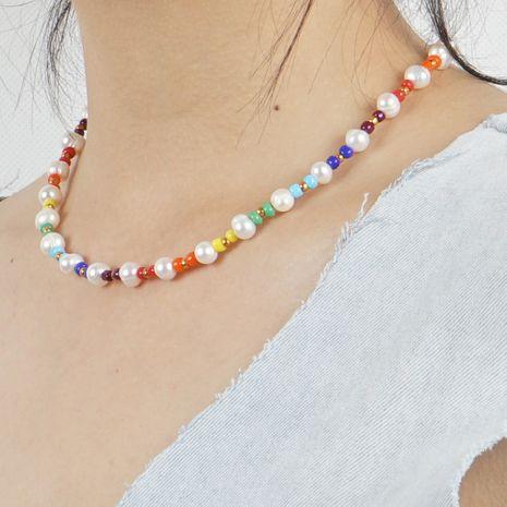 mode naturel perle d'eau douce collier bohème plage vent couleur riz perles tissé à la main bijoux NHGW228701's discount tags